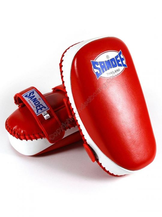 Sandee Curved Kick Pads - Red & White - Fight Equipment UK