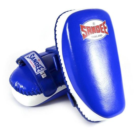 Sandee Curved Kick Pads - Blue & White - Fight Equipment UK