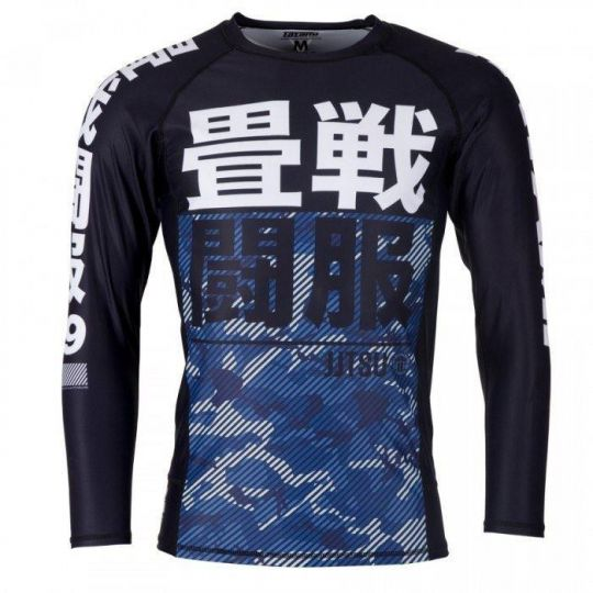 Tatami Kids Essential BJJ Rash Guard - Camouflage Bleu