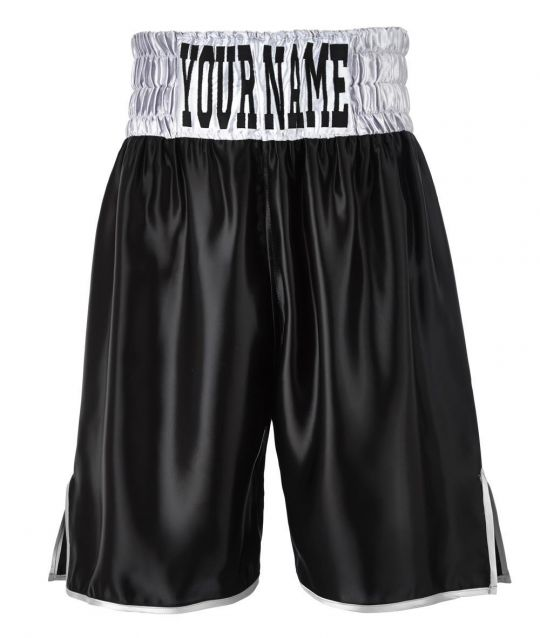SW Satin Boxing Shorts - Black/Silver