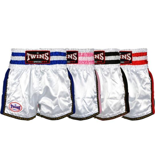 Twins Plain White Retro Muay Thai Shorts