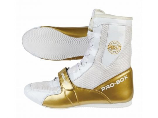 Pro Box Speed ​​Lite Junior Bottes de boxe - Blanc / Or