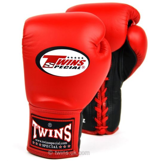 Twins Lace Up Boxing Gloves Red