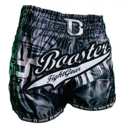 Short Muay Thai Booster Labyrint - Noir / Argent