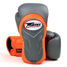 Twins Deluxe Sparring Gloves - Grey/Orange